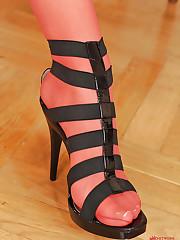 Naked Nikita Black sniffing heels
