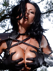 Action scene with an wild model in black leather