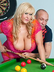 Big tits Leah Jayne fucked on pool table