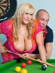Big tits Leah Jayne fucked on pool table