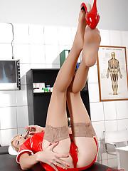 Hot nasty nurse Wiska in stockings