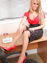Aamazing blonde secretary undresses in her office and..