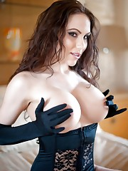 Katie Banks with Black Satin Gloves