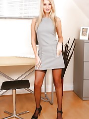Stevie looking amazing in minidress and high heels.