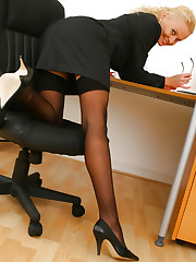 Blonde Karen in her Secretary outfit with sheer lingerie..