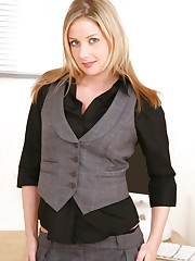 Beautiful blonde Nikki strips out of her black blouse and grey..