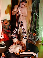 Halloween stripper gives footjob!