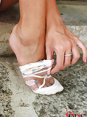 Danielle Maye modeling cute socks