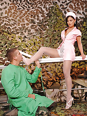 Sexy nurse Angelica gives a footjob