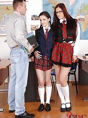 Two students fucking their teacher