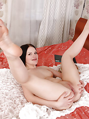 Hot Nubile Aldi stimulates her ass with a tickling anal..