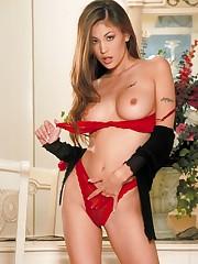 pulls down her red bra