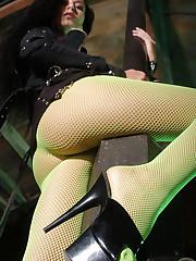 Asian model Hana Black in a fishnet lingerie