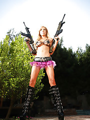 Action girl Jewels plays with her huge guns