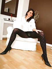 Lovely Laura B in cute white blouse, short skirt and..