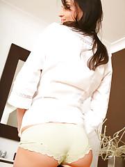 Lovely Laura B in cute white blouse, short skirt and..