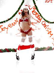 Liza Del Sierra, busty brunette, miss santa stripping..
