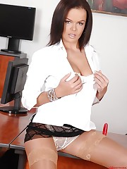Linet fucks herself in the office!