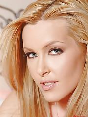 Blonde Sophie Moone's striptease