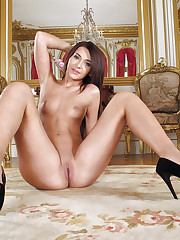Sexy brunette Alexis Brill solo action in high-heels