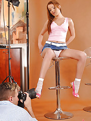 Sexy Kate Pearl does a hot sockjob
