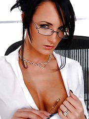 Naughty Secretary Alektra Blue toying at work