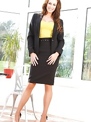 Smart secretary gets naughty and removes her black..