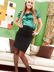 Kinky blonde secretary teases her way out of her tight silk..