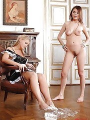 Lady & her servant in stockings!