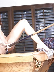 Isabella gets horny from playing pool.