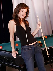 Victoria gets a little horny from playing pool and starts..
