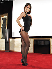 Babe in awesome black pantyhose
