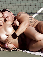 Kandi Milan gets fucked at a tennis court.