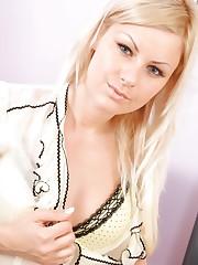 Blonde Bridget hides cute yellow lingerie beneath her..