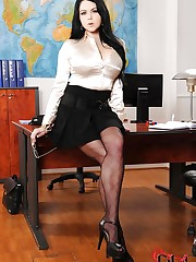 Seductive secretary bares it all