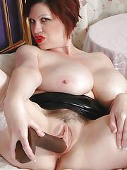Trudi Stephens boobs play and dildo fuck