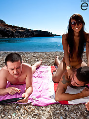 Sharon Lee fucked on the cretan beach by 2 cocks!