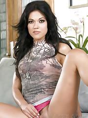 Beautiful brunette, Alyssa Reese, wearing nothing but a..