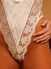 April peels off her lace one piece teddy