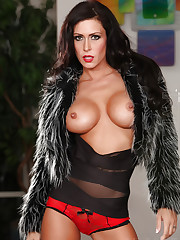 The beautiful brunette Jessica Jaymes strips and..