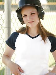 In between hits jules keeps her batting helmet on and..