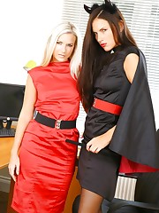 Two Halloween secretaries in tight minidresses with..