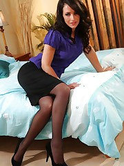 Grogeous dark haired secretary hurries home from work to..