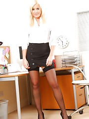 Amy Green takes a break from her office duties to do a sexy..