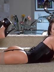 Chrissy M in a luxury black lingerie underwear