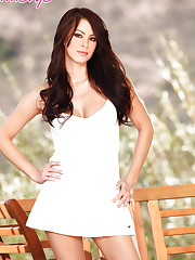 Talia Shepard takes in a sexy white dress slowly undresses