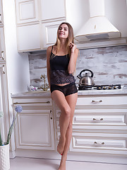 Georgia takes off her sheer black lingerie and showcases..