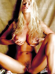 Busty blonde Adele Stephens spreading