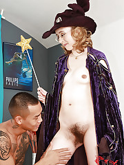 Horny witch with bushy pussy sucks