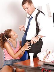 Sweet sucks her boss off in office